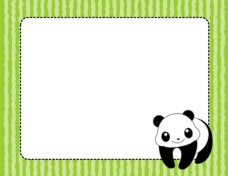 Cute giant pands page border  frame witha panda and green striped patterned background Vector
