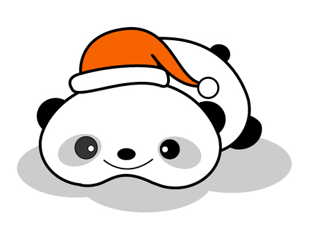 lovable: Cute chinese giant panda bear wearing a red santa hat clipart isolated on white background