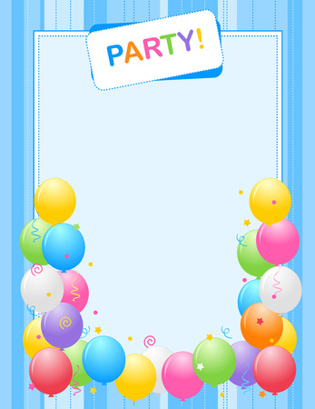 Colorful balloons border / frame illustration for birthday cards and party invitation backgrounds. Blue one specialy for boys