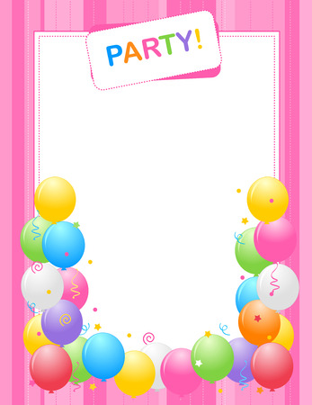 Colorful balloons border frame illustration for birthday cards 38908538 colorful balloons border frame illustration for birthday cards and party invitation backgrounds pink one specialy for girls stopboris Choice Image
