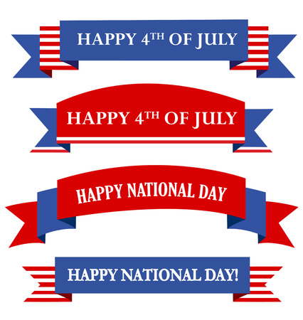 Colorful USA 4th of july patriotic baner collection with text isolated on white background