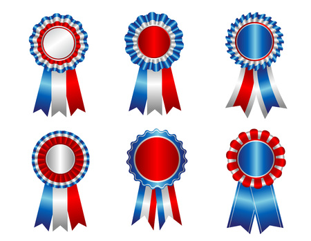 free vote: USA patriotic award ribbon resettes clipart collection isolated on white Illustration