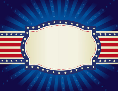 patriotic border: 4th of july retro frame with stars and stripes on glowing starburst background