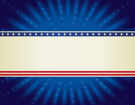 USA patriotic 4 th of july background design wth stars and stripes with starburst Illustration