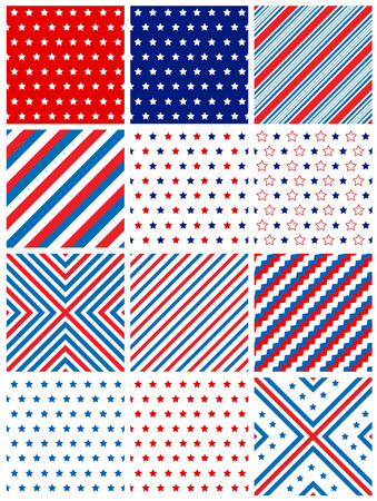 stripes patterns: Red and blue stars and stripes patterns  seamless background collection fo rweb site