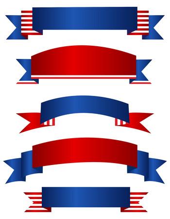 curves: Colorido EE.UU. 04 de julio colección patriótica baner aislado en fondo blanco Vectores
