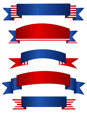 Colorful USA 4th of july patriotic baner collection isolated on white background Illustration