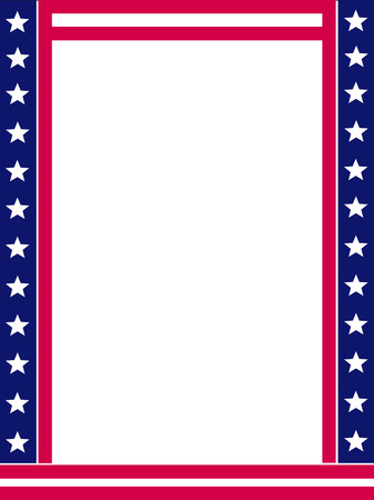 patriotic border: USA 4th of july stars and stripes frame design with empty white space on middle