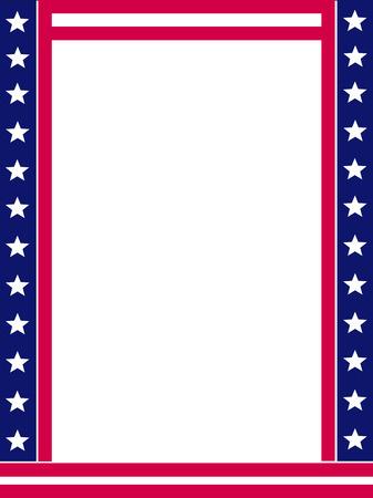 USA juli 4 sterren en strepen frame design met lege witte ruimte op midden Stock Illustratie