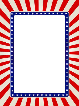 Blauwe en rode patriottische sterren en strepen pagina  frame design collectie Stock Illustratie