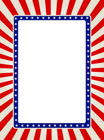 Blue and red patriotic stars and stripes page border / frame design collection Vectores