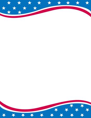 중간에 빈 공백 7 월 별과 줄무늬 프레임 디자인의 미국 4 스톡 콘텐츠 - 38908614
