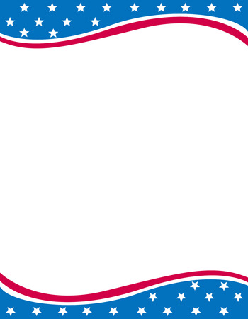 USA 4th of july stars and stripes frame design with empty white space on middle