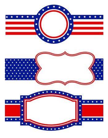 青と赤の愛国心が強い星とストライプのページ枠フレーム デザイン コレクション  イラスト・ベクター素材