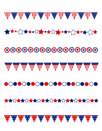 Patriotic divider  frame collection with flags stars and buntings Çizim