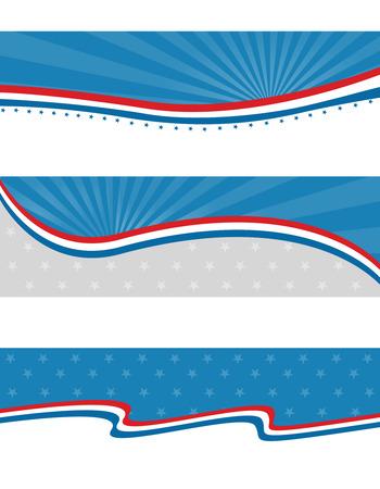 Barras y estrellas patrióticas azules y rojos encabezados y banners diseño de páginas web Foto de archivo - 38908618