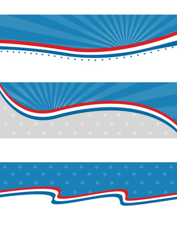 Blue and red patriotic stars and stripes web page  headers and banners design