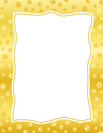 Gold  golden color paw prints border  frame with empty white space Illustration