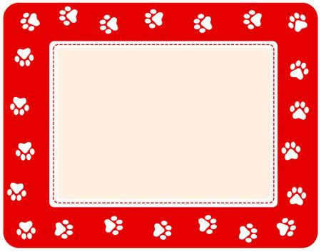 huellas de perro: Frontera linda impresión de la pata del animal doméstico en el fondo blanco