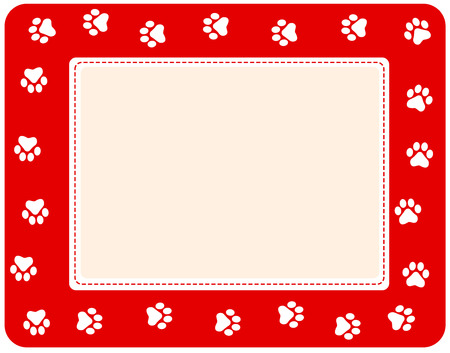 Cute pet paw print border on white background Illustration