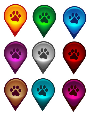 pointer dog: Map pointer collection with dog paw print inside
