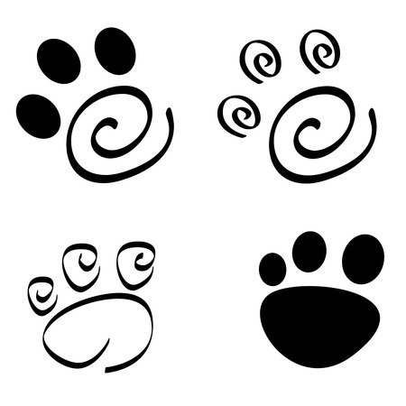 Collection of artistic dog cat paw prints isolated on white background