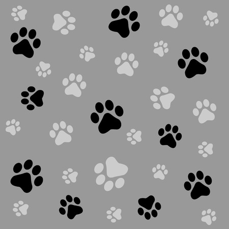 prints: Dog paw prints seamless pattern with black and gray color paw prints
