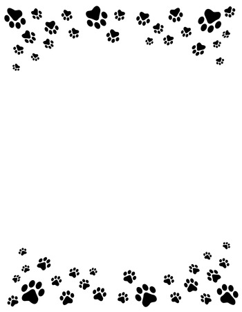 trail: Black and white dog paw prints top and bottom border  header and footer on white background Illustration