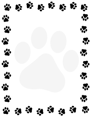 Dog pawprint border / frame on white background Vectores