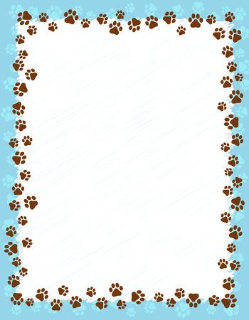 Dog paw prints border / frame on light blue grunge background