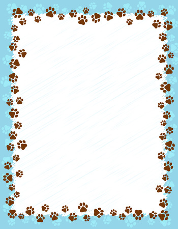 animal border: Dog paw prints border  frame on light blue grunge background Illustration