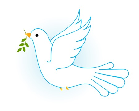 Illustration of flying white pigeon/ dove in blue sky with some olive branches. [Symbol of peace]