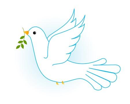 foglie ulivo: Illustrazione di volare bianco piccione  colomba in cielo blu con alcuni rami di ulivo. [Simbolo di pace]