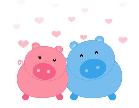 bacon love: Cute piggy couple on falling hearts background illustration Illustration