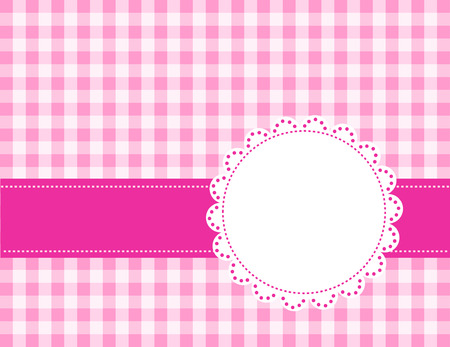 chequered ribbon: Cute pink gingham pattern with a lace frame  border Illustration