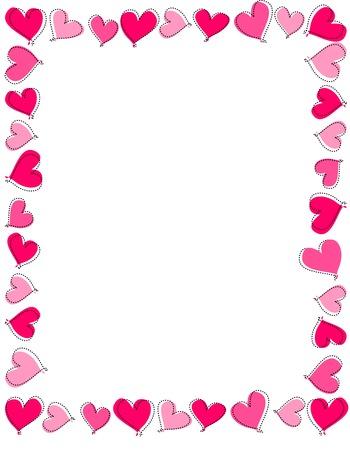 Hand getrokken roze en rood hart frame op een witte achtergrond