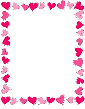 Hand drawn pink and red heart frame on white background