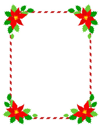 candy cane background: Retro striped candycane frame with poinsettia flowers on edges isolated on white