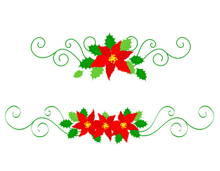 x mas parties: Collection of colorful christmas divider with red poinsettia flowers and holly leaves Illustration