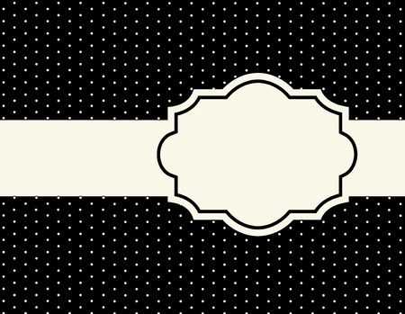 lattice frame: White polka dots on black background pattern with frame