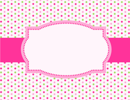 dots background: Cute pink and green polka dot design with pink ribbon and frame Illustration