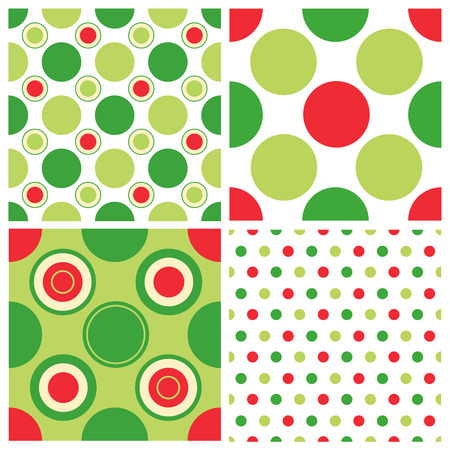green and red: Colorful christmas polkadots seamless pattern collection