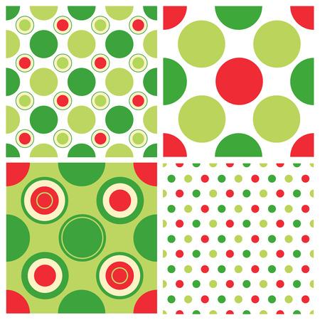 red polka dots: Lunares navidad Colecci�n colorida patr�n transparente Vectores