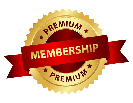 Premium membership golden badge with red ribbon and text