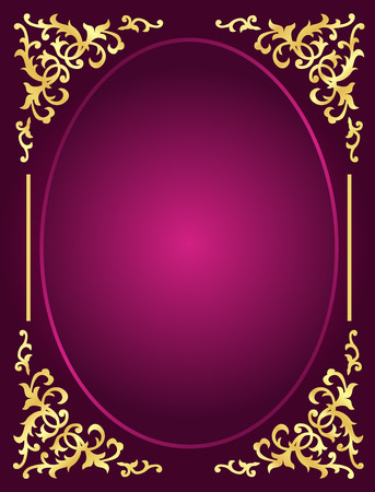 Elegant gold ornamental frame  corner on blank  pink  violate background.. perfect as stylish wedding invitations and other party invitation cards or announcements