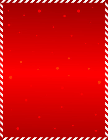 Elegant red frame with candy cane border and falling snow Vectores