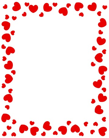 Red hearts border for valentines day designs
