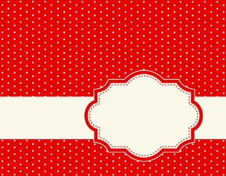 red polka dots: Fondo rojo con lunares blancos y el marco Vectores