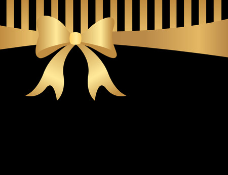 Abstract background with black and goldstripes , gold ribbon bow and empty space in bottom