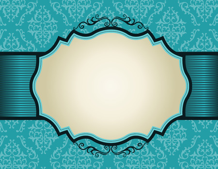 Elegant damask pattern background with turquoise ribbon.. perfect as stylish wedding invitations and other party invitation cards or announcements Ilustração
